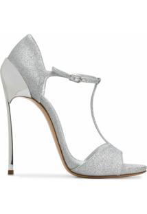 Casadei Sandália Salto Agulha Com Glitter - Prateado