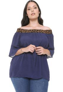 Blusa De Tecido Plus Size Da Predilects Azul