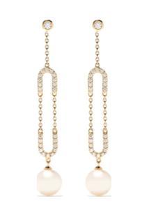 Yoko London Par De Brincos Trend De Ouro 18K Com Diamante E Pérolas - 6