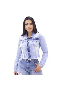 Jaqueta Jeans Cropped Desfiada, Detalhe Em Destroyed Indy Jeans