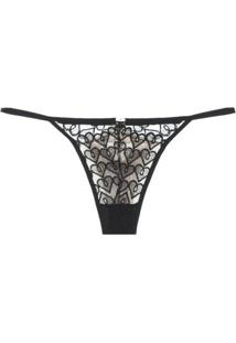 Calcinha Fio Dental String Tule Bordado Pin Up Loungerie - Preto
