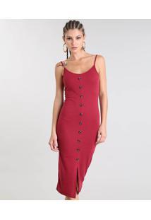 Vestido Feminino Midi Canelado Com Botões E Fenda Alça Fina Vinho