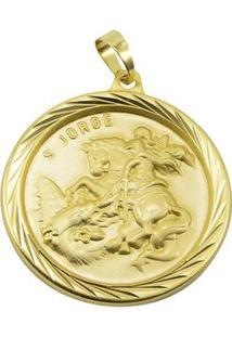 Pingente São Jorge Tudo Joias Folheado A Ouro 18K - Unissex-Dourado