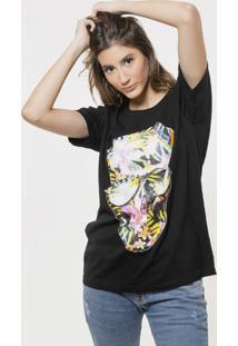 Camiseta Basica Joss Caveira Flores Coloridas Preta - Kanui