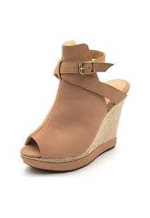 Sandalia Anabela Ankle Boot Flor Da Pele Fivela Nude