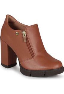 Ankle Boots Feminina Quiz Zíper Marrom