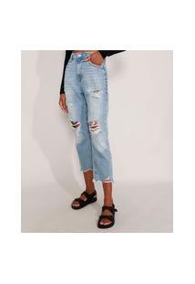 Calça Mom Jeans Cropped Destroyed Cintura Super Alta Azul Claro