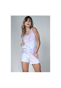 Pijama Feminino Serra E Mar Modas Baby Doll Tie Dye Lilás