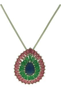 Colar Lihanna Zirconia Azul E Verde E Rubi Leitoso Rodio Hc0014751