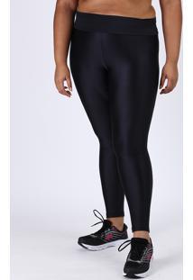 Calça Legging Feminina Plus Size Esportiva Ace Cintura Alta Texturizada Preta