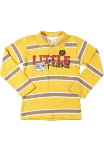 Camisa Polo Manga Longa Elian Amarelo