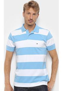 Camisa Polo Tommy Hilfiger Listrada Block Stripe Regular Masculina - Masculino-Azul+Off White