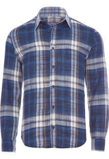Camisa Masculina Xadrez Dark - Azul