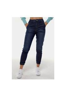 Calça Jeans Mom Jogger Sob Azul Escura Com Elastano