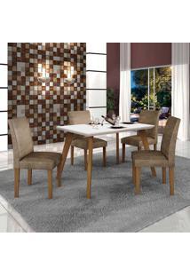 Conjunto De Mesa De Jantar Lavinia Com 4 Cadeiras Olimpia Iii Veludo Imbuia Mel Branco