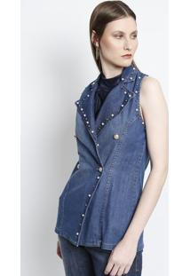 Colete Jeans Com Pã©Rolas- Azul- Charrycharry