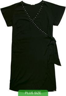 Vestido Curto Com Decote V Preto