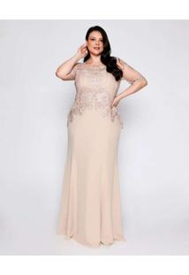 Vestido Almaria Plus Size Pianeta Tongo Tule Borda