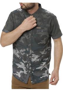 Camisa Gangster Manga Curta Camuflada Masculina - Masculino