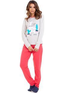 Pijama Longo Feminino Lhama Com Algodão Luna Cuore