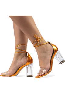 Sandália Salto Alto Metalizado Com Transparência E Salto Transparente - Kanui