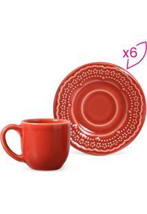 Jogo De Xícaras De Café Madeleine- Vermelho- 6Pçs
