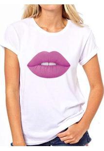 Camiseta Coolest Batom Roxo Feminina - Feminino-Branco