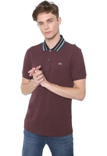 Camisa Polo Lacoste Slim Listras Marrom