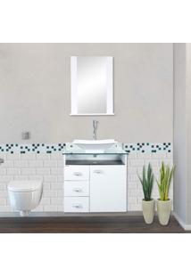Gabinete Para Banheiro Com Espelheira E Cuba Classic Móveis Bonatto Branco/Preto