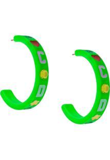 Gcds Par De Brincos Com Logo - Verde