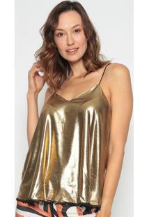 Blusa Com Babados - Dourada - Lanã§A Perfumelanã§A Perfume