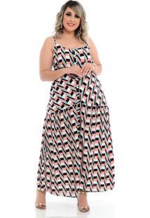 Vestido Longo Listrado Belly Plus Size