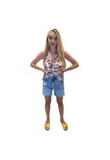 Bermuda Feminina Soltinha Multi Ponto Denim Jeans