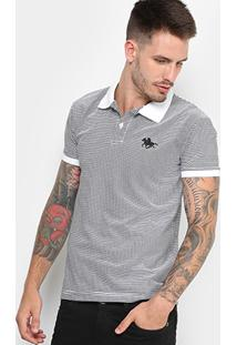Camisa Polo Rg 518 Malha Listras Logo Metal Masculina - Masculino