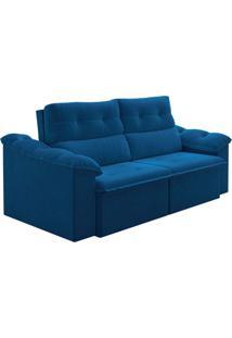 Sofá 3 Lugares Retrátil E Reclinável New York Veludo Azul