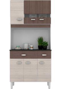 Cozinha Compacta 6 Portas E 2 Gavetas Manu - Poquema - Amendoa / Capuccino