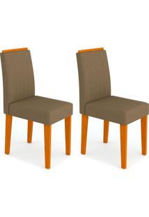 Conjunto Com 2 Cadeiras Ana Ipê E Marrom
