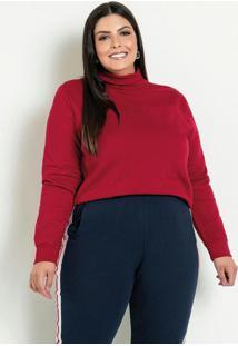 Casaco Vermelho Com Gola Alta Plus Size