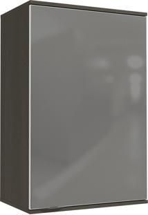 Armário Aéreo Kappesberg 1 Porta Com Vidro Inox Onix/Steel