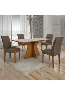 Conjunto De Mesa De Jantar Creta Ii Com 4 Cadeiras Olímpia Linho Off White E Marrom