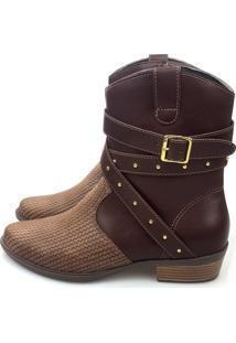 Bota Love Shoes Cano Curto Country 3 Tiras Cruzada Detalhe Café