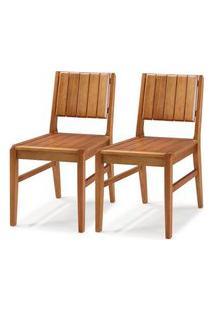 Kit 2 Cadeiras Salvador Verniz Jatoba Encosto Ripado 43Cm - 60331 Preto