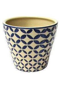 Cachepot De Cerâmica Folhas Bege 14 X 12 Cm - 24980