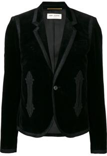 Saint Laurent Blazer Com Bordado - Preto