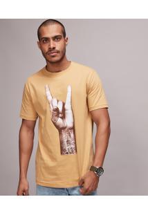 Camiseta Masculina Rock Manga Curta Gola Careca Mostarda