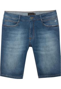 Bermuda Dudalina Jeans Stretch Five Pockets Masculina (Jeans Medio, 46)