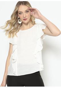 Blusa Texturizada Com Babados - Off White - Morena Rmorena Rosa