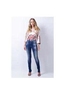 Calça Skinny Alongada Lança Perfume Jeans Azul