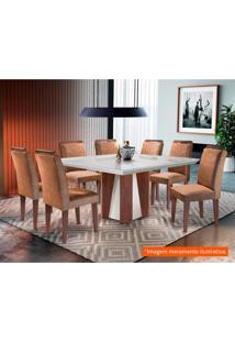 Conjunto De Mesa De Jantar Valença Com Vidro E 8 Cadeiras Athenas Suede Chocolate E Off White