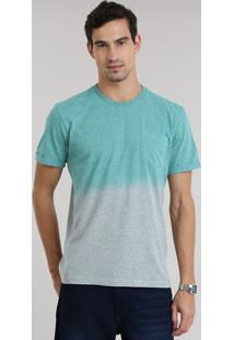 Camiseta Degradê Mescla Com Bolso Verde